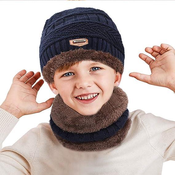 XIAOYAO Cappello Invernale Ragazzi Berretto Bambini in Maglia con Sciarpa  (Blu Scuro) 73af47d14f8b
