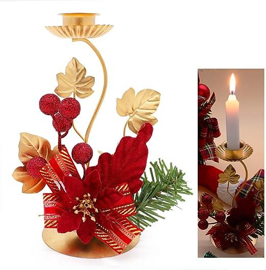Poinsettia Candle Holder Wreath Christmas Table Decor Festive Party Holly Berry