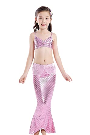 Amazon.com: Shangrui - Traje de baño para niñas con cola de ...