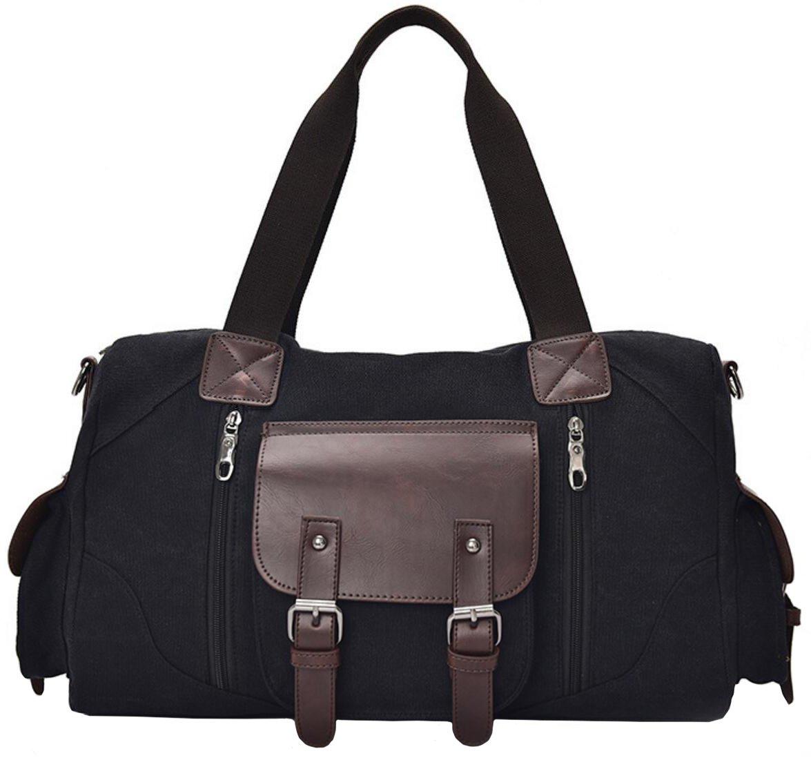 OrrinSports Travel Duffel Bag Canvas Shoulder Luggage Bag for Weekend Business Trip Black