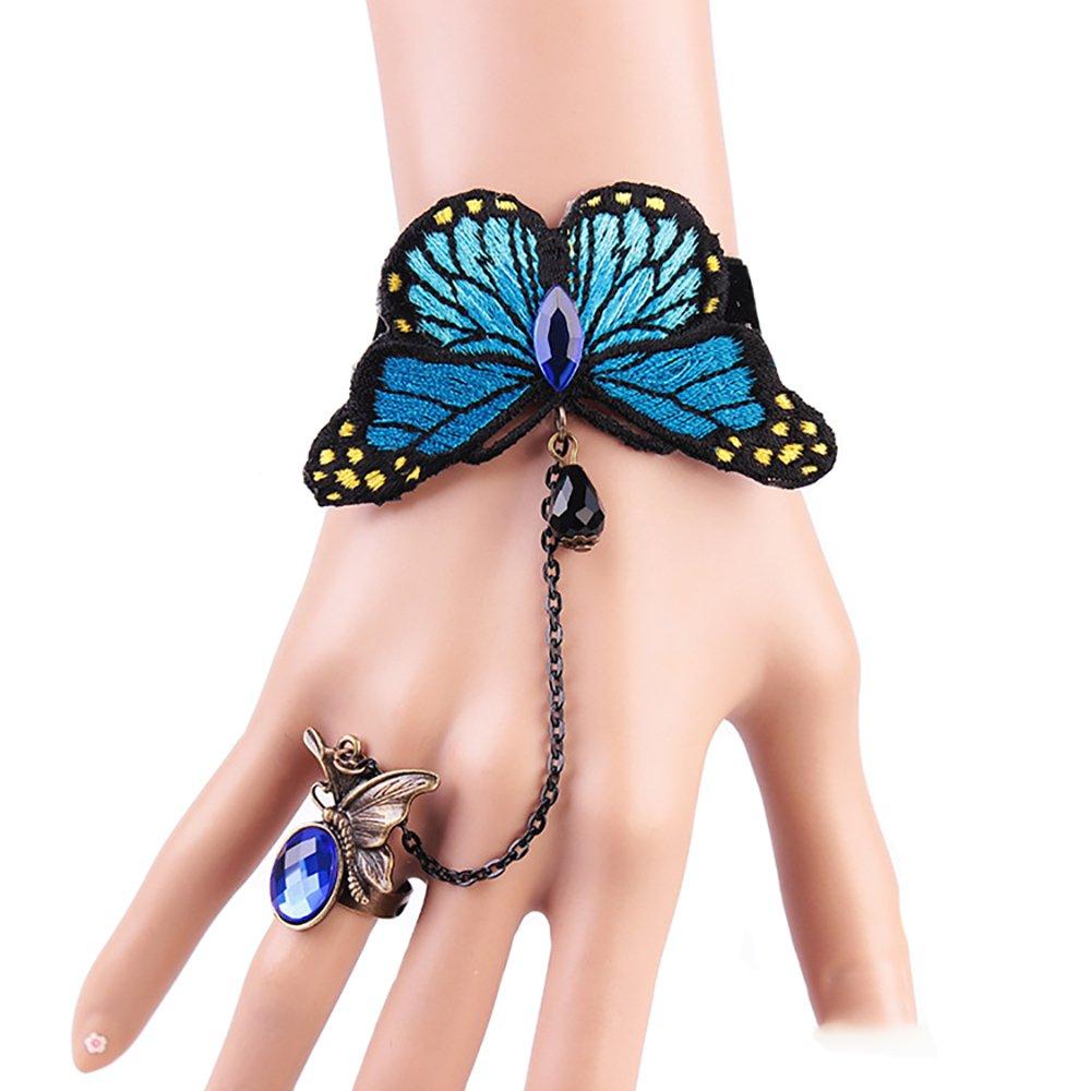 Gothic Lolita Style Vintage Metal Sexy Woman Black Lace Finger Ring Bracelet Set Flying Blue Butterfly Crystal Bracelets Women (Blue)