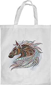 Horse Drawing Printed Shopping bag, Medium Size