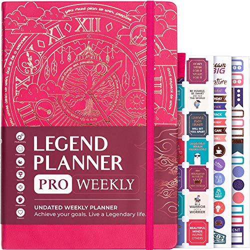 """Legend Planner PRO - Deluxe Weekly & Monthly Life Planner to Increase Productivity and Hit Your Goals. Time Management Organizer Notebook - Undated - 7 x 10"""" Hardcover + Stickers - Hot Pink"""