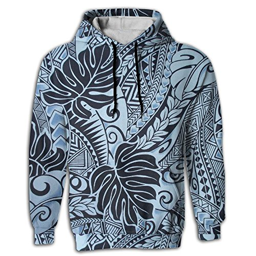 FUSALIN Fabric Polynesian Tattoo Tapa Designs In Blue MonsterUnisex 3D Printed Sweatshirt Casual Pullover Hoodie With Big Pockets ()