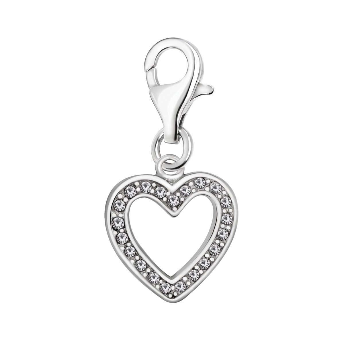 Quiges 925 Sterling Silver White Cubic Zirconia Open Heart Lobster Clasp Charm Clip on Pendant