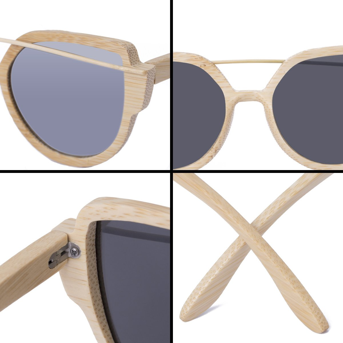 WISH CLUB Women Bamboo Wood Polarized Sunglasses Classic Cat Eye Floating Lightweight UV400 Glasses(Silver)