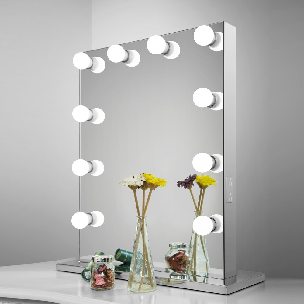 Aoleen Frameless Vanity Mirror with Light Hollywood Makeup Lighted Mirror with Dimmer Free bulbs Gift (6550)