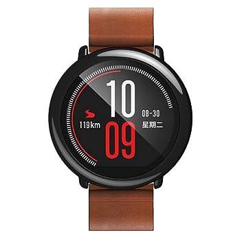 HappyTop Reloj Banda, Cuero Correa de Reloj Pulsera Correa de Repuesto de muñeca para Xiaomi huami amazfit A1602, Hombre, marrón, S: Amazon.es: Deportes y ...