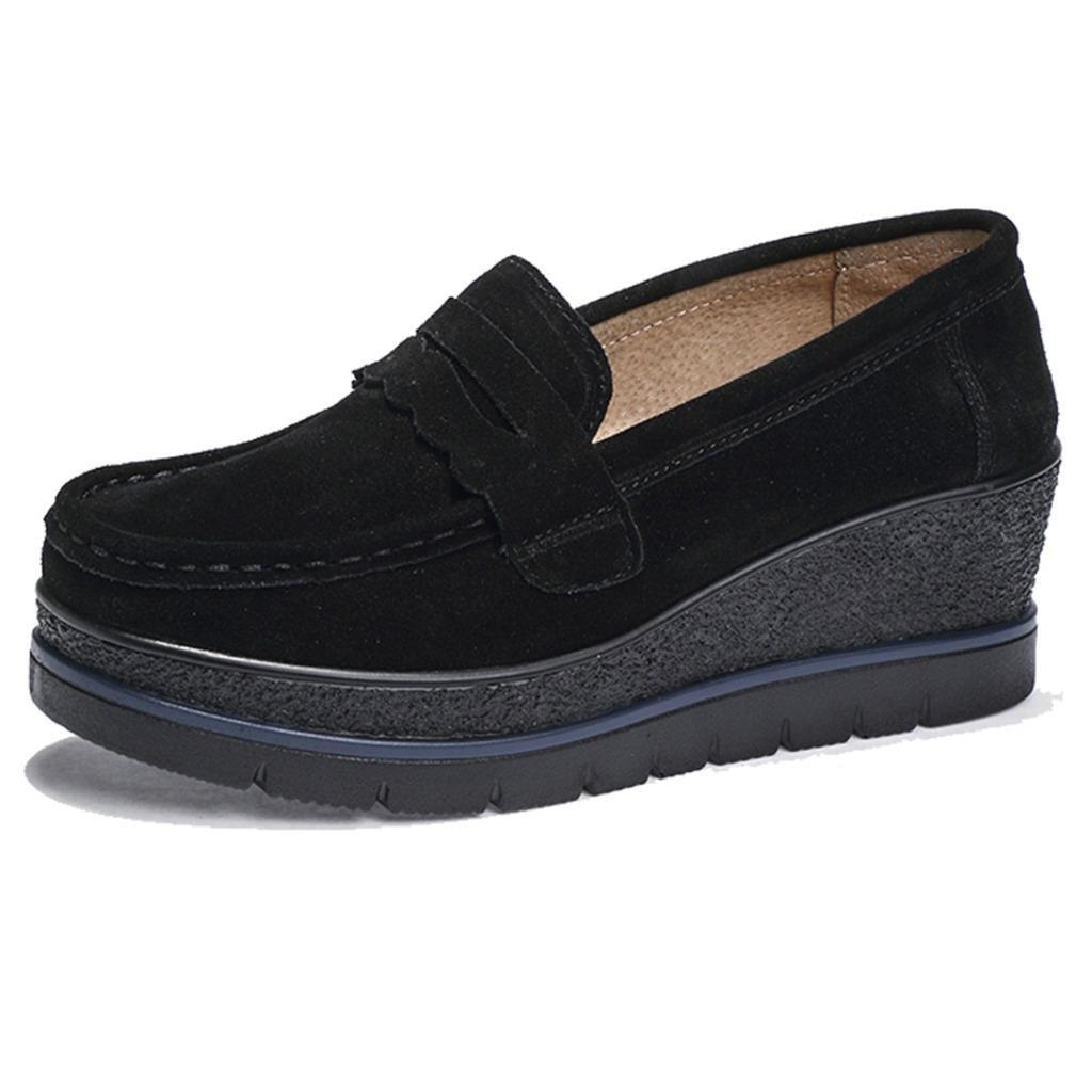TRULAND Women's Suede Leather Slip-on Comfort Wedge Platform Penny Loafers Moccasins (8.5 D(M) US,Black)