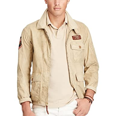 Polo Ralph Lauren Men\u0027s Twill Flight Jacket (XS, Gallery Tan) at Amazon  Men\u0027s Clothing store: