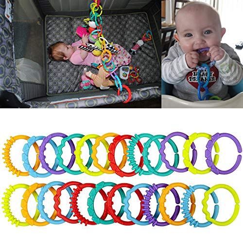 Kalttoy Baby Teething Ring Colorful Rainbow Rings Stroller Gift Decoration Toys 24Pcs