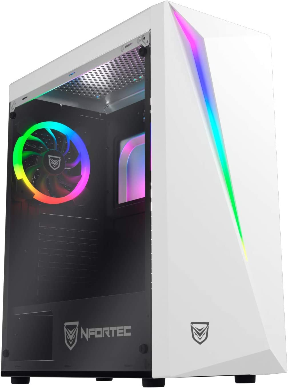 Nfortec Lynx Torre Gaming Blanca RGB (Cristal Templado) Compatible con Placas ATX, Mini-ATX e itx y Ventilador RGB Incluido en la Parte Trasera.