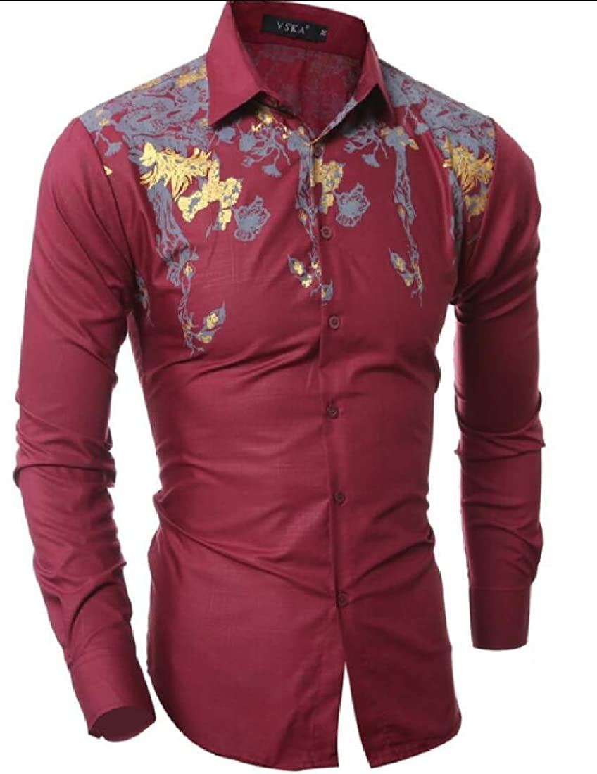 omniscient Mens Long Sleeve Print Tops Blouses Slim Fit Button Down Shirt