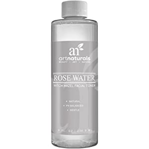 ArtNaturals Rosewater Witch Hazel Toner - 236ml - Natural Anti Aging Pore Minimizer for Face - Infused with Aloe Vera for Hydrating - For All Skin Types