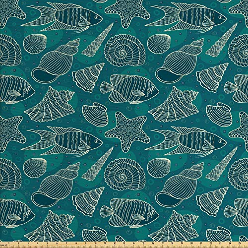 Ambesonne Sea Shells Fabric by The Yard, Nautical Ocean Pattern Underwater World Sea Life Theme Sketch Style, Decorative Fabric for Upholstery and Home Accents, 2 Yards, Petrol Blue Teal Beige