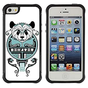 Hybrid Anti-Shock Defend Case for Apple iPhone 5 5S / Cool Asian Panda Mosaic