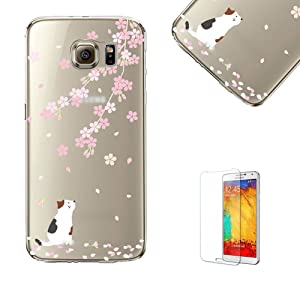 For Samsung Galaxy S7 Case Cover with Free Screen Protector, Funyye Extreme Lightweight Transparent Clear Soft TPU Gel Case Silicone Rubber Anti Cover with Beautiful Lovely oriental cherry sakura Flower Pattern Printing for Samsung Galaxy S7 -White cat