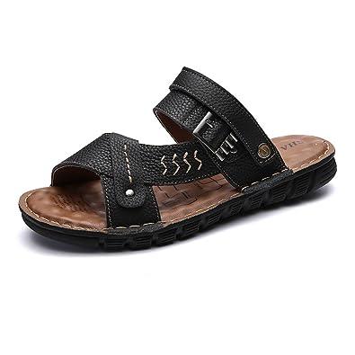 Pantoufles de plage en cuir véritable pour hommes Sandales occasionnels Chaussures à semelle antidérapante Réglable Backless , Sandales à bascule pour hommes ( Color : Brown , Size : 38 EU )