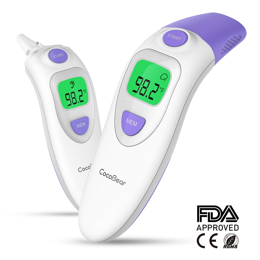 Baby Forehead Thermometer with Ear Function, Cocobear 4 in 1 Digital Infrared Thermometer with Fever