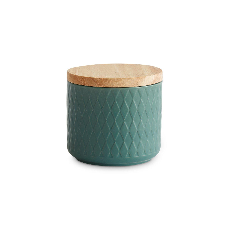 Barattoli per provviste in ceramica con coperchio in legno Nordic Reef di Springlane Kitchen | Coperchio ermetico in gomma | Contenitore con capacità da 400 ml a 1 litro | Altezza da 9, 3 fino a 18, 3 cm | Barattoli per la conservazione | Barattoli salvafr