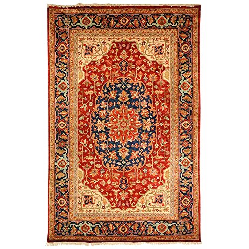 (Safavieh Samarkand Collection SR812A Hand-Knotted Rust and Navy Wool Area Rug (6' x 9'))