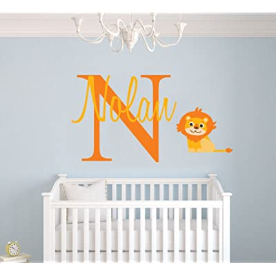 """Personalized Name Lion Animal Series - Baby Boy - Wall Decal Nursery for Home Bedroom Children (Wide 36""""x20"""" Height): Baby"""