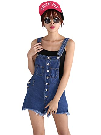 3f65f76802a3 Women Fashion Distressed Bib Overalls Jeans Jumper Short Overall Raw-Edge Denim  Overall Short  Amazon.co.uk  Clothing
