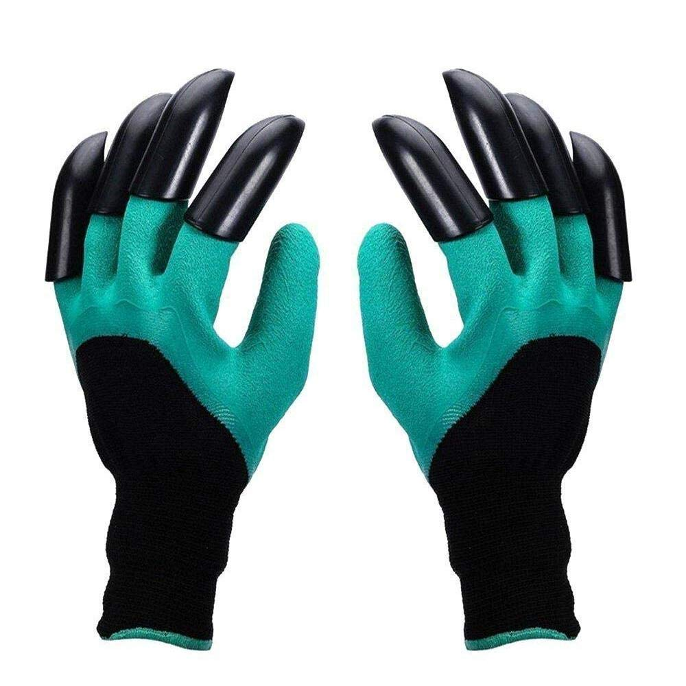 Aolvo Gardening Gloves, Garden Genie Latex Gloves with Claws - Soft Breathable Waterproof Dig Gloves for Planting,Gardening,Cleaning,Seeding,Rose Pruning Best Gift for Gardeners