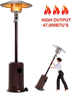 47000BTU Commercial Gas Standing Patio Heater LP Propane Heater Garden Tall Outside Outdoor Heater with Wheels Cover, Hammered Bronze