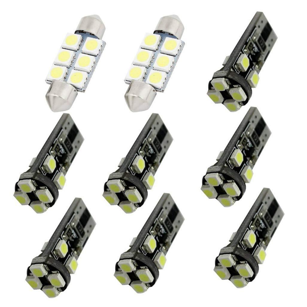 Per Octavia LED Super Luminosi Bianco Lampadine per Luci Interne Auto Per Porte Interne di Auto Luci di Lettura Luci Plafoniera Luce Targa LED Canbus Senza Errori 5 Pezzi