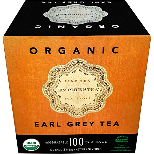 Empire of Tea USDA Organic Bergamot Earl Grey Individually Wrapped Bulk Tea Bags, 100 Count