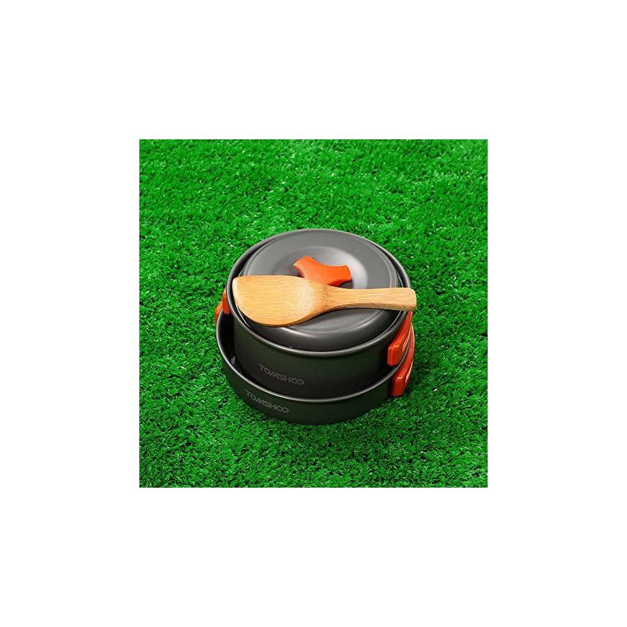 TOMSHOO Camping Cookware Lightweight Pots Pans with Bowls Mesh Set Bag