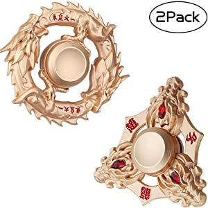 Golden Dragon Fidget Spinner Figiting Hand Finger Toys Spinner Focus Copper Metal Fingertip Gyro Stress Relief Anxiety ADHD EDC Toy Best Party Favors Gift Collections for Kids Adults Friends with Case