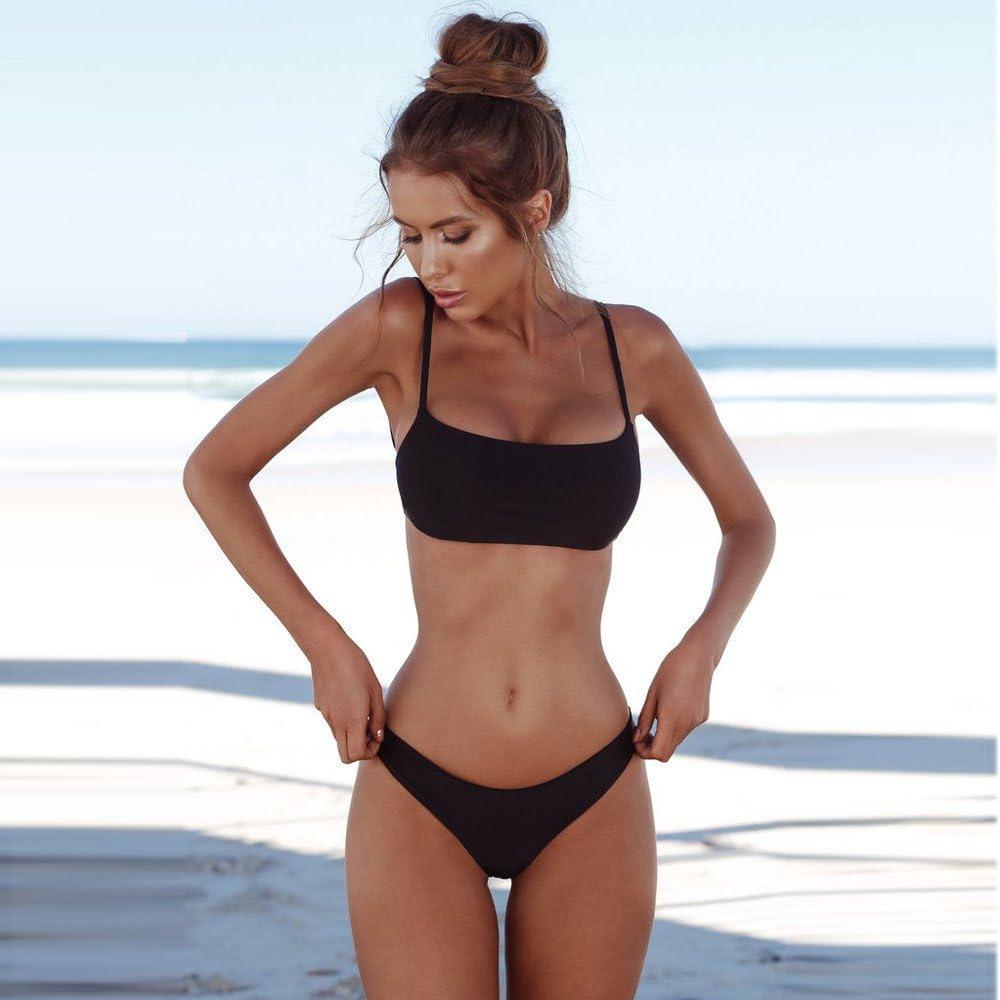Conjunto de Bikini Ronamick,Mujer 2019 Ba/ñador para Mujer Talla Grande Verano Tankini Tanga Traje de ba/ño de Playa Traje de Ba/ño de Una Pieza Bikini(S,BK