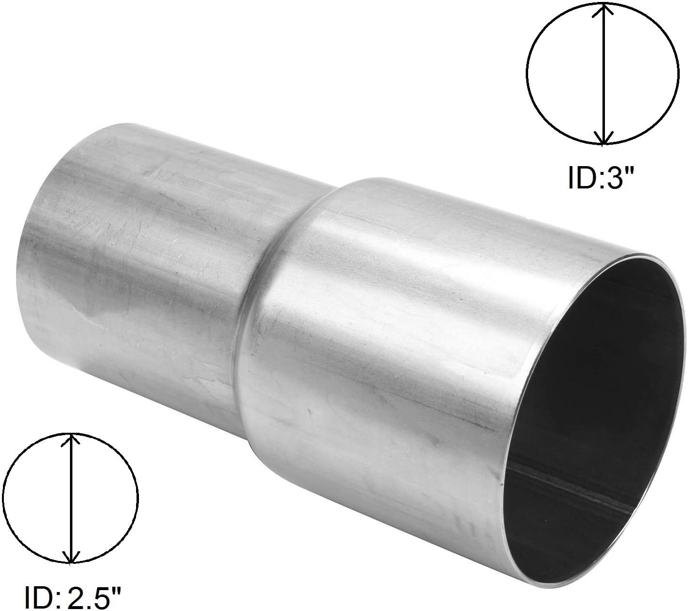BETTERCLOUD Universal 2.5 ID to 3 ID Exhaust Pipe Adapter Connector Reducer Mild Steel