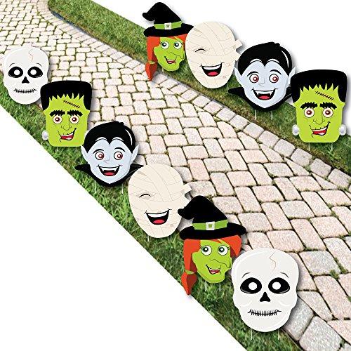 Halloween Monsters - Skeletons, Mummy's, Vampires, Frankenstein's & Witches Lawn Decorations - Outdoor Halloween Yard Decorations - 10 Piece]()