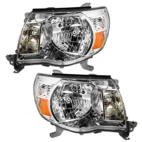Driver and Passenger Headlights Headlamps with Chrome Bezels Replacement for Toyota Pickup Truck 8115004163 8111004163 Replacement Headlight Driver