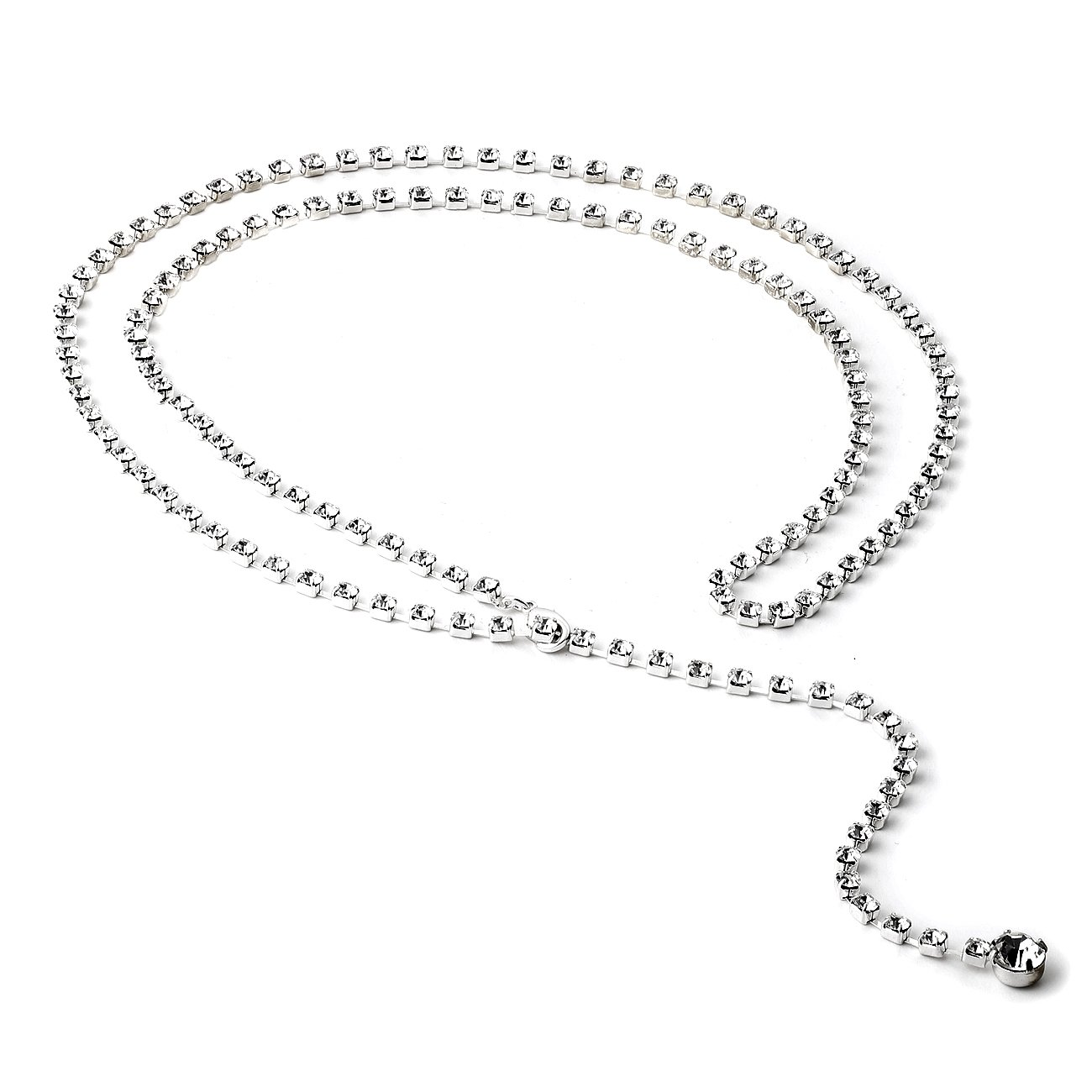 Topwholesalejewel Silver Crystal Rhinestone 39 Inches Single Line Belt with a Single Stone End