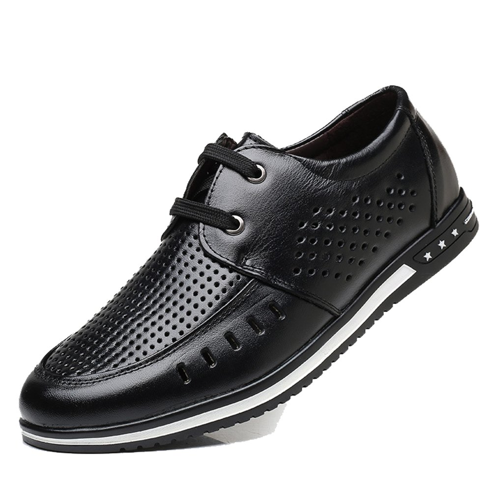 DeLamode Men Leisure Hollow Leather Shoes Summer Lace Cool Hole Sneakers Black-42