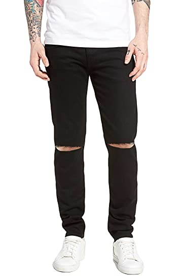 a82aa0b19b4 oiin Damler Knee Cut Slit Men's Slim fit Round Pocket Distressed Damaged  Jeans Classic Black