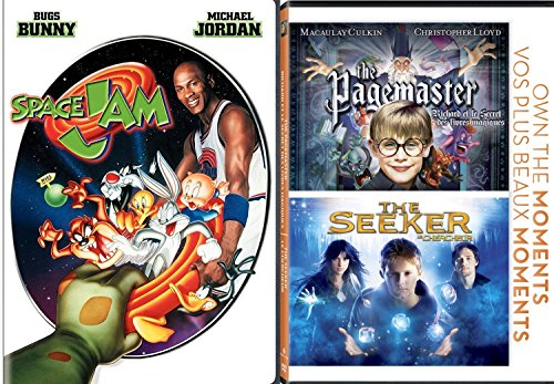 Family Fantasy Fun Triple Feature - The Pagemaster / The Seeker / Space Jam 3-Movie Bundle (Tunes Jordan Looney Shoes)