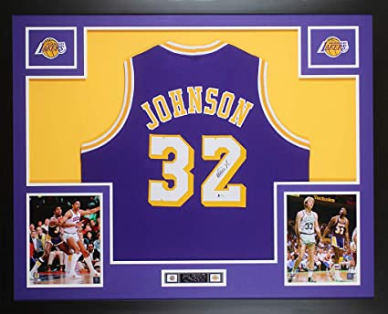 11f24b1dd405 Magic Johnson Autographed Purple Los Angeles Lakers Jersey - Beautifully  Matted and Framed - Hand Signed