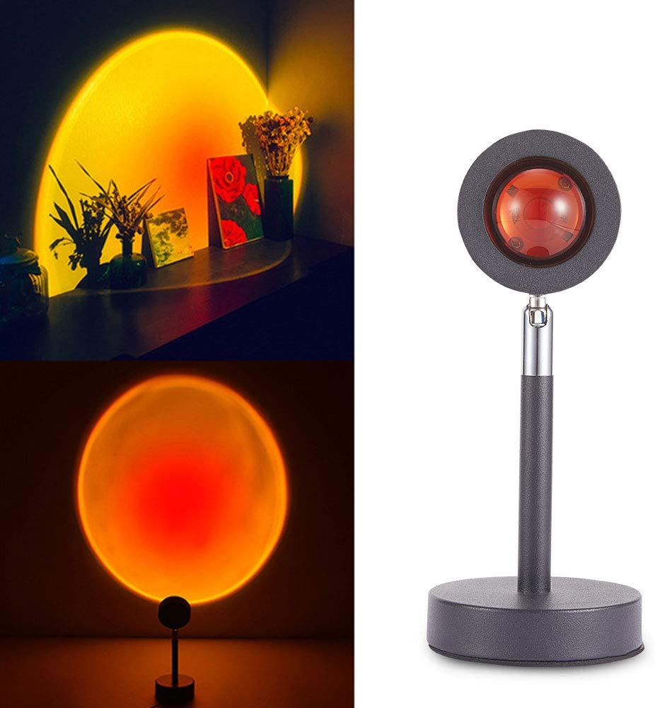 Night Light Projector Led Lamp, Sunset Red Projection Lamp Modern Floor Stand, 180 Degree Led Projection Lamp for Background Wall Decor, Romantic Sunset Projector for Party Bedroom Decor