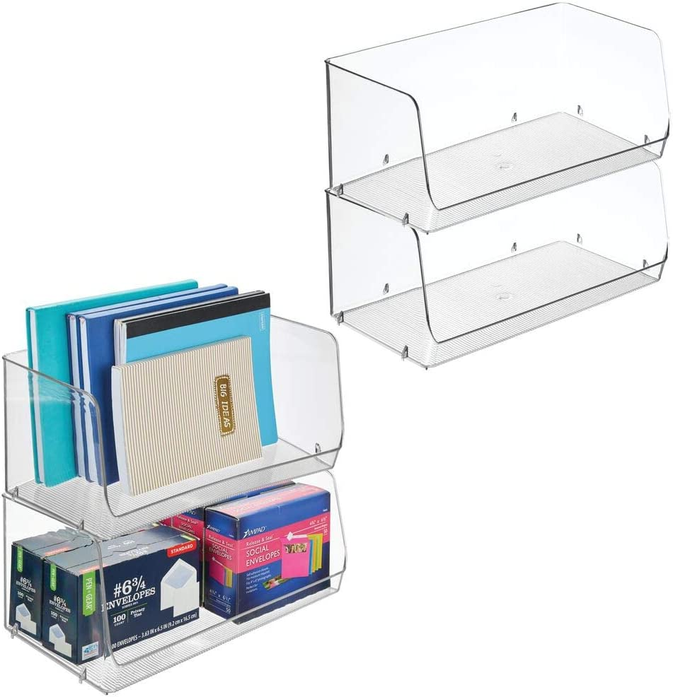 """mDesign Stackable Plastic Storage Organizer Bin Basket for Desk, Book Shelf, Filing Cabinet - Container for Office Supplies, Sticky Notes, Pens, Pencils - 15"""" Wide, 4 Pack, Clear"""