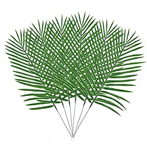 """34.6"""" Artificial Palm Leaves Tropical Greenery Imitation Faux Fake Palm Tree Leaf Artificial Plants Leaves for Safari Jungle Beach Theme Birthday Party Decorations Supplies Decor 6"""