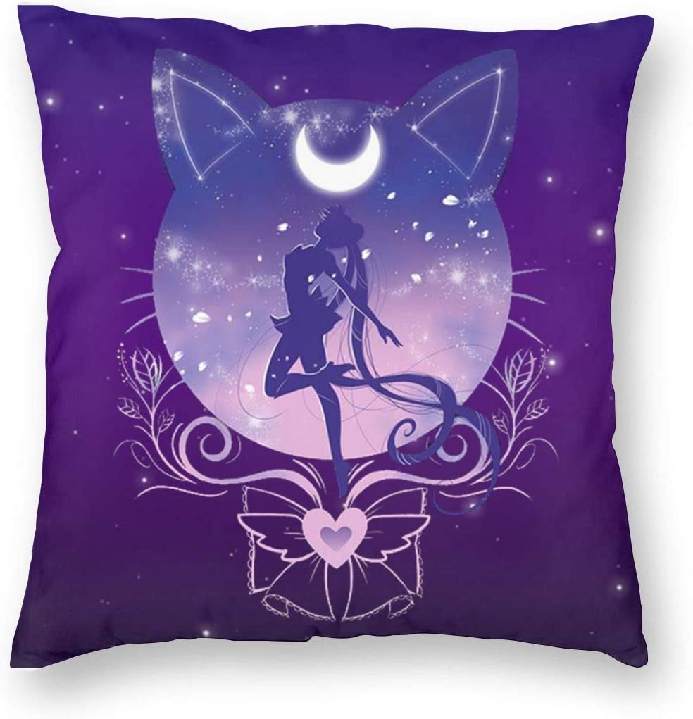 Cbnnzbcm Fashion Sailor Moon in Cat Square Decorative Throw Pillow Cases Cushion Covers - 18 X 18 Inch for Home, Couch, Sofa, Or Bed, Modern Design
