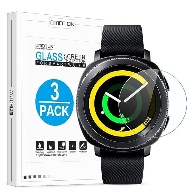 OMOTON Protector Pantalla Compatible para Samsung Gear Sport 2017 SM-R600 Cristal Templdo, 2,5D Borde, 9H Dureza, 3 Unidades