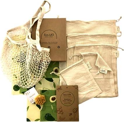 Beeswax Wrap Kit | 4 Envoltura de Cera de Abejas (1 Small, 2Medium, 1Large) Restore Wax, + 6 Bolsas de Malla Reutilizables (2S, 1M, 1L, 1XL, 1 Shopping Bag)  | Zero Waste Kit: Amazon.es: Alimentación y bebidas