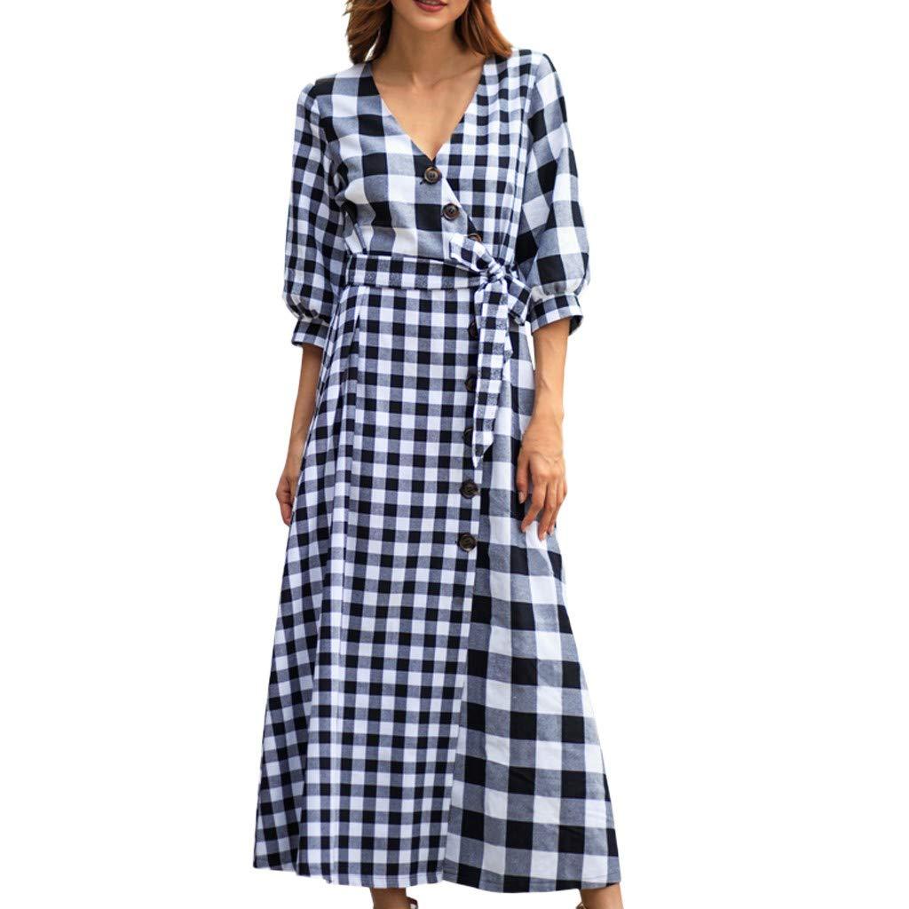 Women Bright Plaid V-Neck Leisure Solid Half Sleeve Vintage High Split Dress