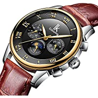 GLEIM Mens Watches, Luxury Business Casual Stainless Steel Bracelet Automatic Mechanical Men Wrist Watch (Brown)